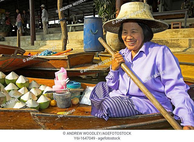 Floating Market tourist attraction Damnoen Saduak near Bangok Thailand