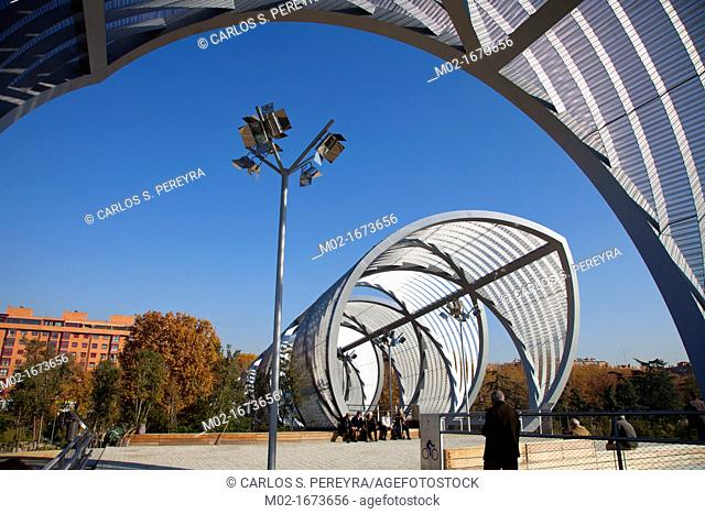 Puente Monumental de Arganzuela in Madrid Rio, Manzanares river, Madrid, Spain  Madrid Rio is the last great ecological development in the city
