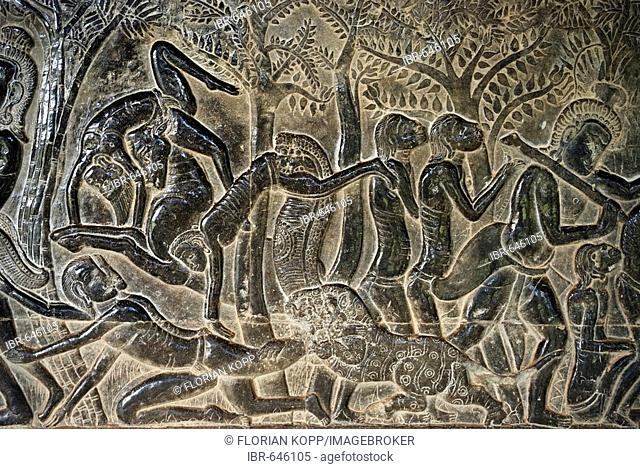 Bas-relief showing a scene in the hell as hinduistic mythology tells, Angkor Wat temple, Cambodia