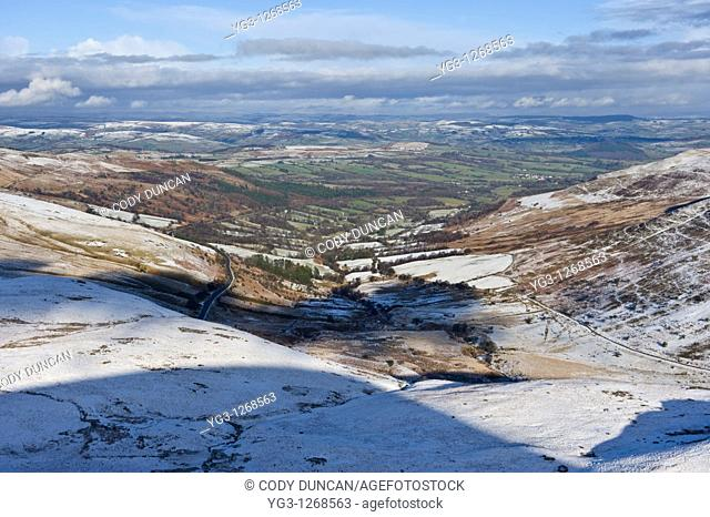 View north from summit of Fan Fawr, Brecon Beacons national park, Wales