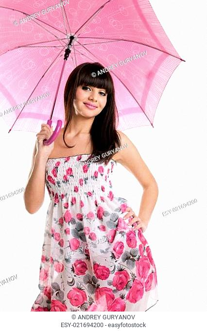 Girl with rose umbrella look at you and smile