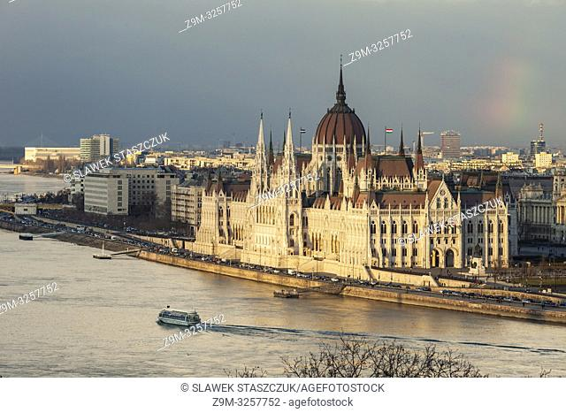 Sunset at Hungarian Parliament in Budapest, Hungary