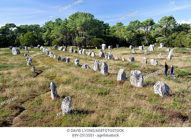 Carnac, France. The Kerlescan group of prehistoric stone row alignments. West from centre of the Neolithic megalithic monument