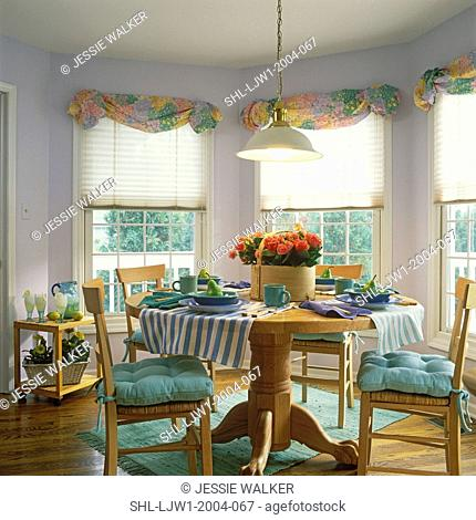 DINING ROOMS: Light wood antique pedestal claw foot table, light wood chairs with green cushions, Lilac painted walls, blinds, pastel floral valances