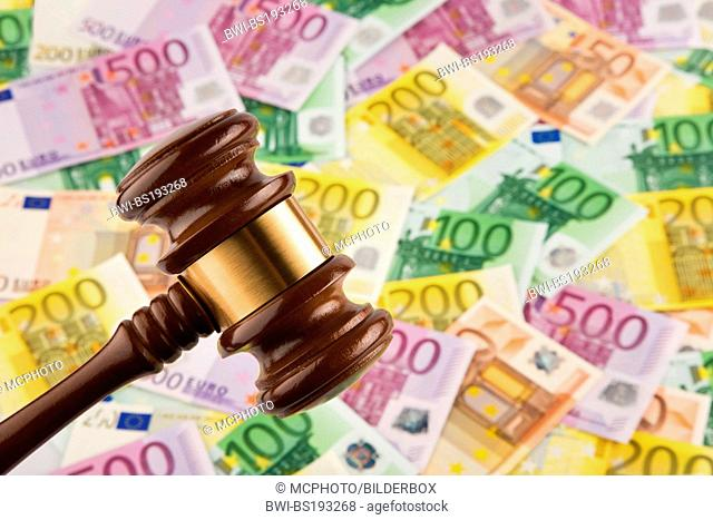 Euro bank notes and judge auction hammer