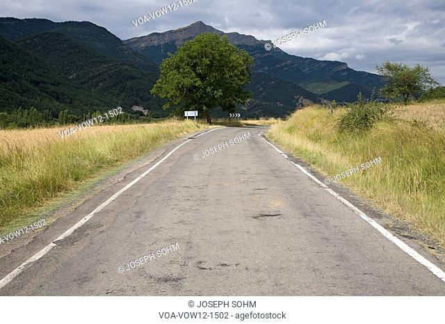 Mountain road near Ainsa, Aragon, in the Pyrenees Mountains, Province of Huesca, Spain