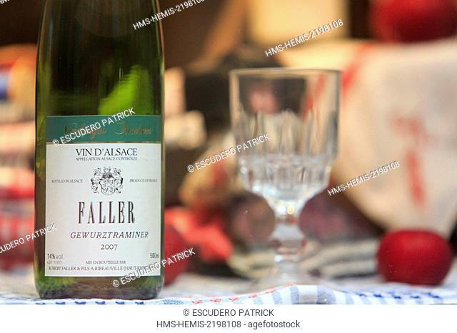 France, Haut Rhin, Route des Vins d'Alsace, Ribeauville, bottles of liquor in a shop window