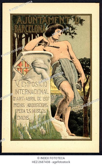 Postcard. Poster of the 5th International Exhibition of Art. Barcelona City Council. April 1907
