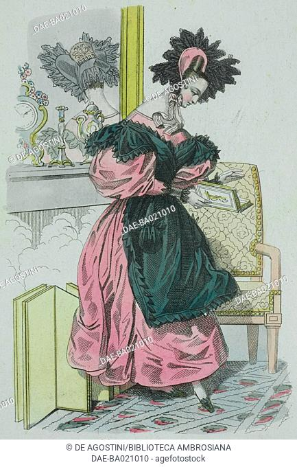 Woman wearing a pink dress with puffed sleeves, and green bib with pink hat adorned with black feathers, plate 3, French Fashions, Il Corriere delle Dame, 1831