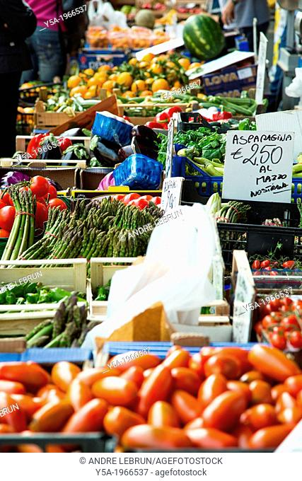 Vegetables and fruit on display at the popular Saturday moring market in Alba in the Piedmont region of Italy