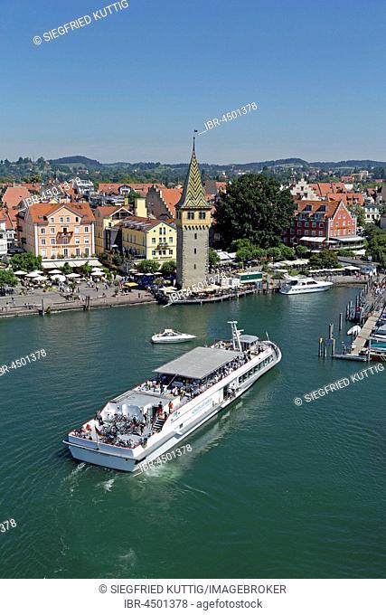 Harbor with Mangenturm, excursion boat, Lindau, Lake Constance, Bavaria, Germany