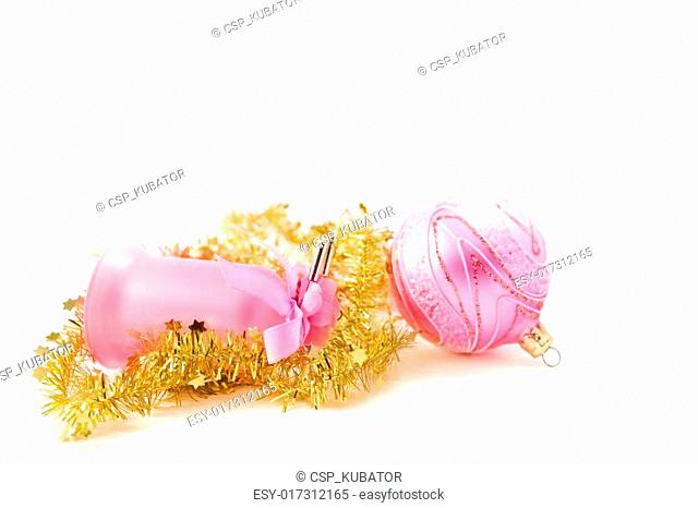 golden tinsel with pink glass decoration