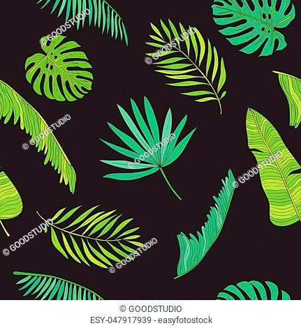 Tropical leaves different shapes seamless pattern background
