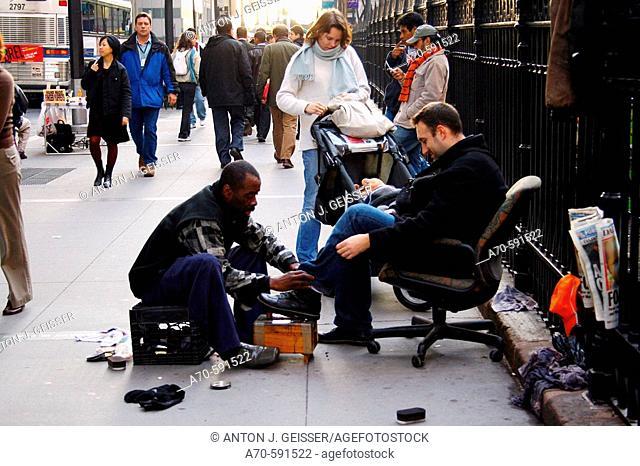 Street bootblack. New York City. USA