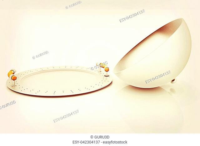 restaurant cloche with open lid . 3D illustration. Vintage style