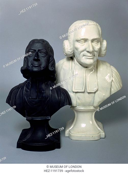 Busts of John Wesley and George Whitefield. Wesley, (right), and Whitefield were London's most charismatic non-conformist preachers