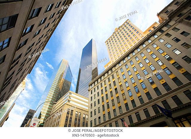 At right The Crown Building, West 57th Street, Midtown, Manhattan, New York City, New York, USA
