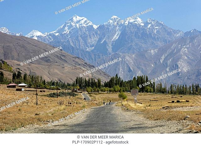 Snow covered mountain peaks of the Pamir Mountains / Pamirs and the Pamir Highway / M41 in the Gorno-Badakhshan province, Tajikistan