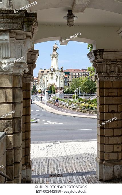 Obelisk and Maria Cristina Bridge viewed from the front Main Railway Station North of San Sebastian European Capital of Culture 2016