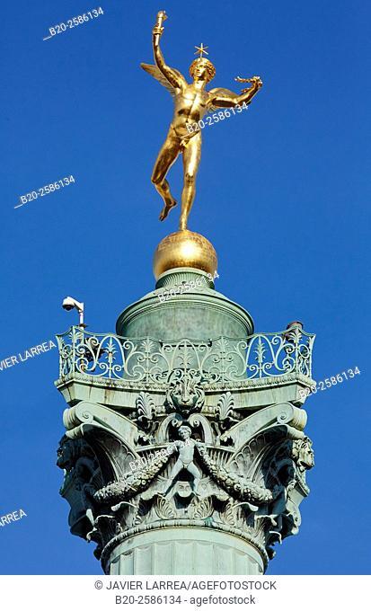 Liberty Column, Bastille Square, Place de la Bastille, Paris, France