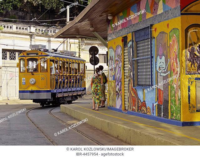 Santa Teresa Tram on Largo do Curvelo, Rio de Janeiro, Brazil