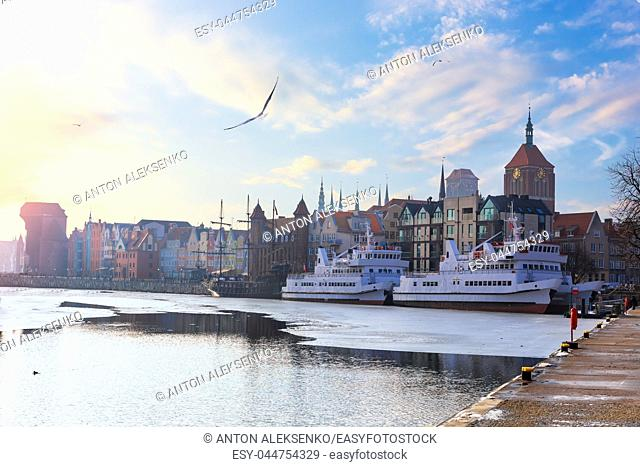 Embankment of the Motlawa in Gdansk, view on the historical buildings and ships