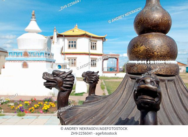 Black dragon on a background of the temple. Ivolginsky Datsan - Buddhist Temple, Buryatia, Russian Federation
