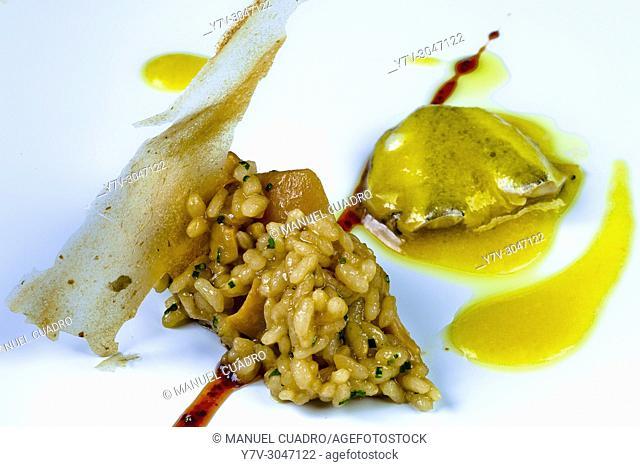 Arroz cremoso de hongos con aromas de trufa y kokotxas al pil pil