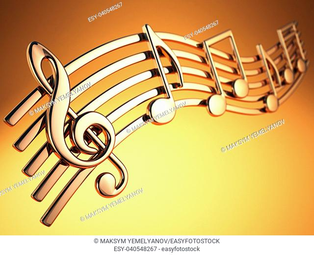 Golden music notes and treble clef on musical strings on yellow background. 3d illustration