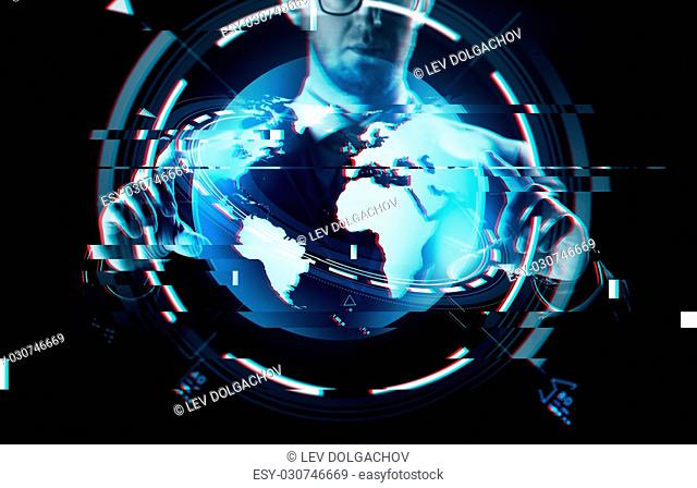 business, people, technology and cyberspace concept - close up of businessman in suit working with earth projection over virtual glitch effect