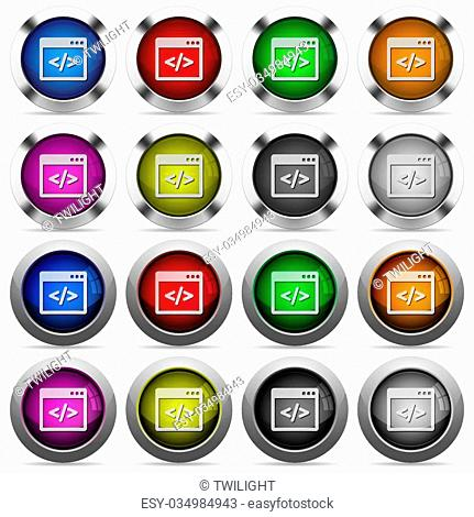 Set of programming code glossy web buttons. Arranged layer structure