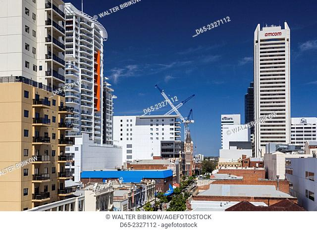 Australia, Western Australia, Perth, buildings along Barrack Street, elevated view