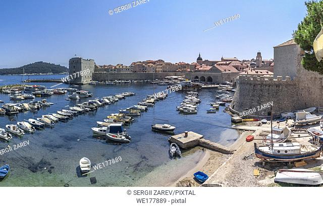 Dubrovnik, Croatia - 07. 13. 2018. Fort St. Ivana and Old Port in Dubrovnik, Croatia, panoramic view on a sunny summer day