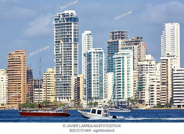 City waterfront with motorboats. Bahia de Las Animas, Bocagrande, Cartagena de Indias, Bolivar, Colombia