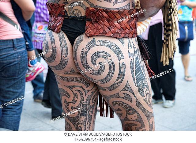 Full body tattoos on Maori performer at the World Puppet Festival, Bangkok, Thailand