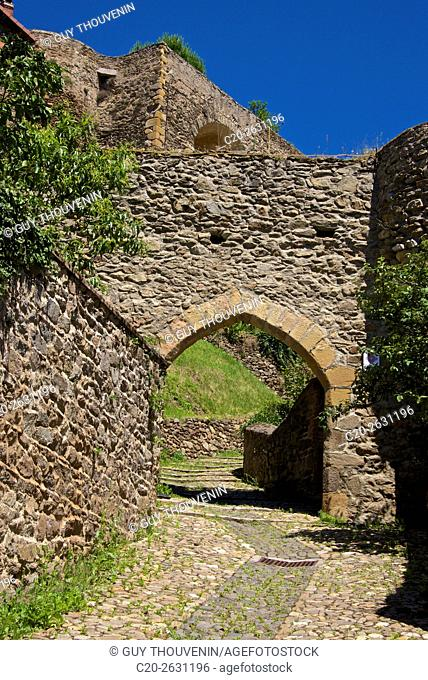 Auzon Brugelet gate, 15th. , and rampart walls, Auzon, 43, Haute Loire, France