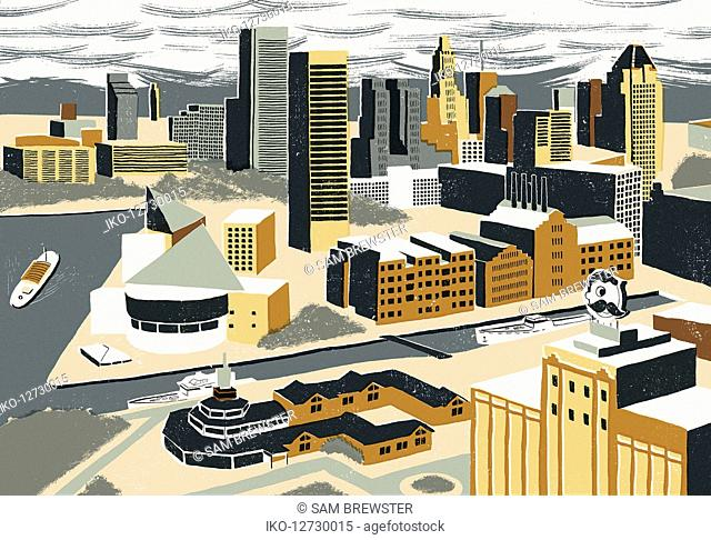 Illustration of Inner Harbor, Baltimore
