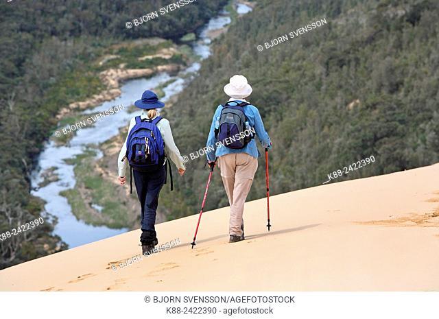 Bushwalking on Thurra Dunes, the second highest sand dune in the southern hemisphere. Croajingolong National Park, Victoria, Australia