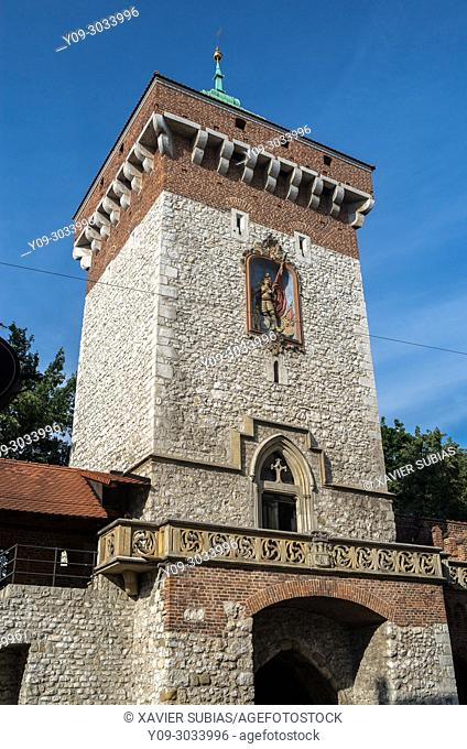 St. Florian`s Gate and Medieval Fortifications, Krakow, Poland