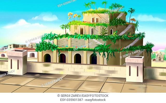 Digital painting of the Hanging Gardens of Babylon - one of the wonders of the world