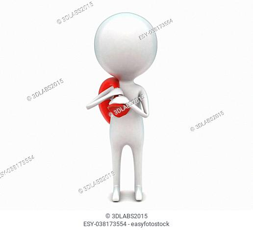 3d man carrying a sack in shoulder concept in white isolated background - 3d rendering , front angle view