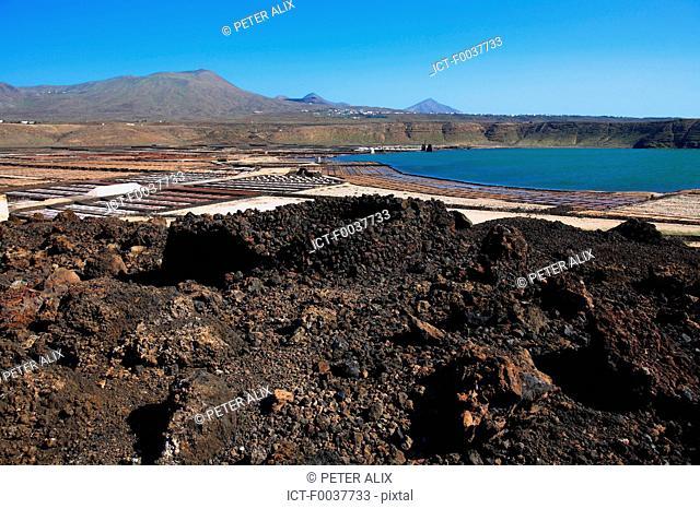 Spain, Canary islands, Lanzarote, Salinas del Janubio
