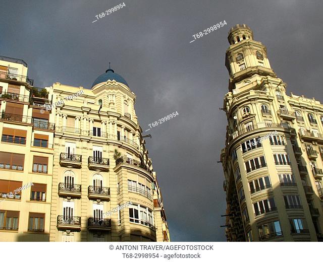 Architecture of the historic center, Town Hall Square, Valencia, Spain