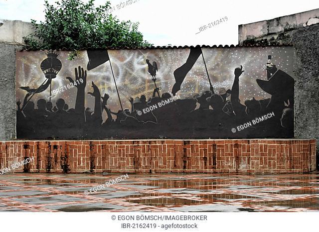 Murals, wall paintings, festival square, town centre of Remedios, Santa Clara Province, Cuba, Central America, America