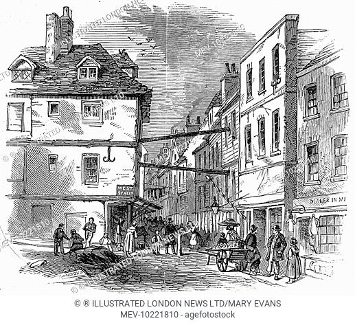 Engraving showing the street scene in Field Lane, London, 1847. At that time this street, old and narrow, was considered a den of thievery