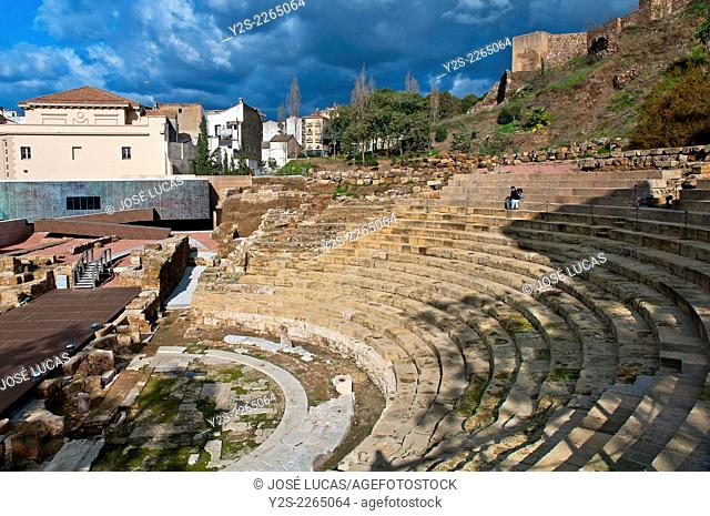 Roman Theater and Arab Alcazaba, Malaga, Region of Andalusia, Spain, Europe