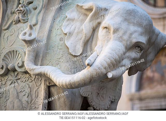 A fang of the elephantine statue of the Minerva obelisk has been broken by vandals, Minerva Square, Rome, ITALY-15-11-2016