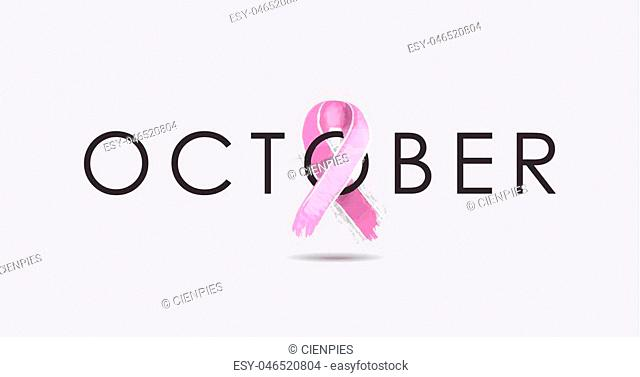 October banner design with typography and hand drawn pink ribbon for breast cancer awareness month. EPS10 vector