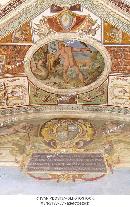 Fresco painting, Villa Lante interior, Bagnaia, Viterbo, Lazio, Italy