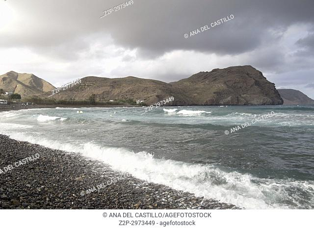 Las Negras beach and village in Cabo de Gata nature reserve, Almeria, Andalusia, Spain